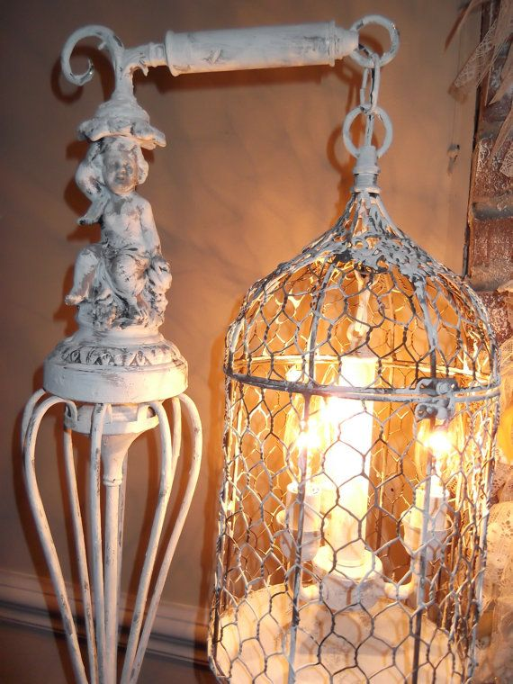 bird cage Chandelier floor Lamp ,vintage chandelier bird cage light shabby  chic chandelier, cherub, NOSTALGIC , French country