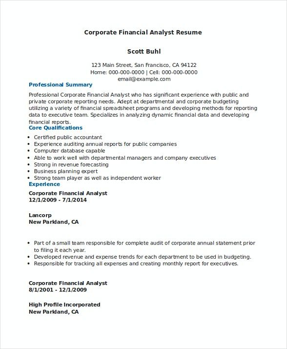 Corporate Financial Analyst Resume Sample , Financial Analyst - audit analyst sample resume