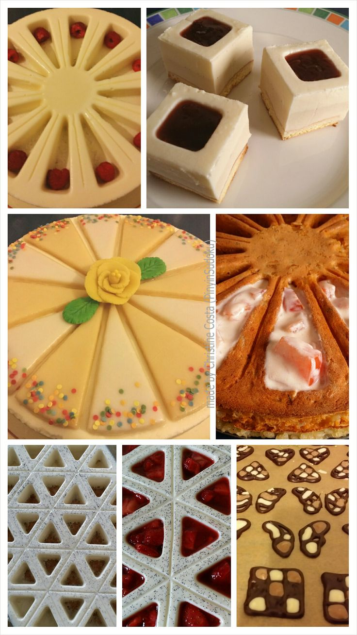 Lemon-raspberry cake, panna cotta desserts and a bean cake (not sweet, with a rice base and tomato-yoghurt filling, but delicious anyway), all made with Zila cake moulds. And of course decorative chocolate for the desserts.