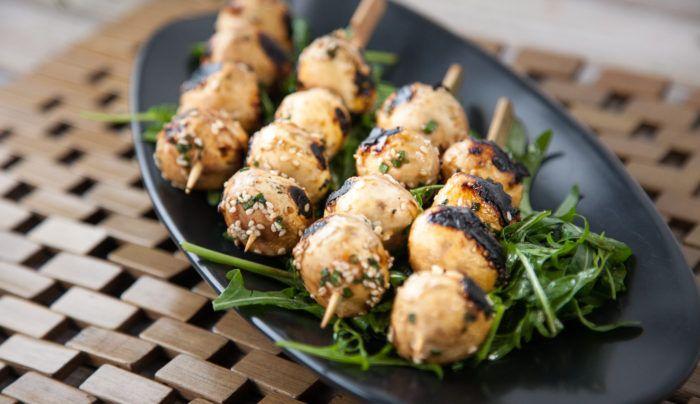 BBQ Miso Marinated Mushroom Skewers | Good Chef Bad Chef