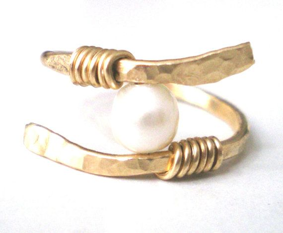 Gold Pearl Wire Ring Handmade Ring Wire Wrapped by CollectionRED, $16.00