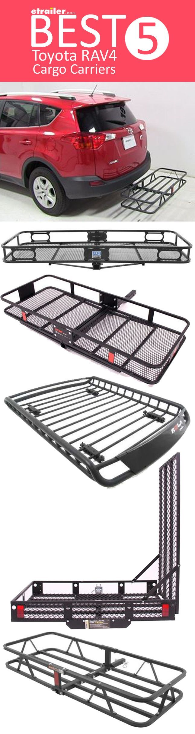 Here are the BEST Cargo Carriers for your Toyota RAV4. Find the right roof mounted cargo basket or hitch mounted cargo carrier so you can carry all of your gear on trips and outdoor adventures!