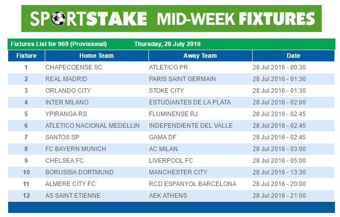 Sportstake midweek results 30 september 2018 vvww ecasa org uk