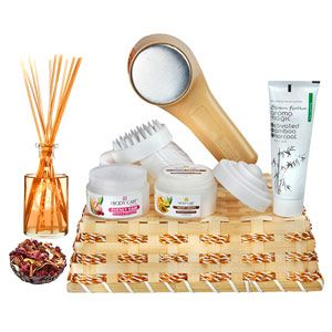 Here's a beauty basket for all her needs. This hamper contains: Body Care day cream with bearberry & milk enzyme. Net weight: 50 grams. Body Care rejuvenating night cream with wheatgerm oil and avocado. Net weight: 50 grams. Aroma Magic 6-in-one formulation activated bamboo charcoal. Net weight: 100 grams. Deep heat massager. Pouch of pot pourri. Reed diffuser. Rs 2582/- http://www.tajonline.com/mothers-day-gifts/product/md2172/day-n-night-pamper-basket/?aff=pint2014/
