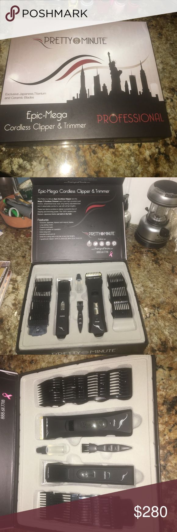 Epic-Mega cordless clipper & trimmer I am selling my Pretty in a Minute cordless clipper and trimmer combo set! Never been used, had it for a month then realized I won't ever use it! Price is negotiable!! pretty in a minute Accessories Hair Accessories