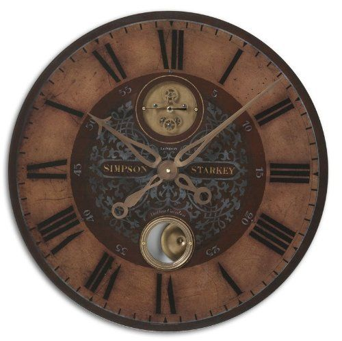 Uttermost Simpson Starkey Wall Clock by Uttermost. $165.00. original design. high quality. Hand finished. Weathered, laminated clock face with cast brass details and internal pendulum. Requires 1-AA battery.. Save 27%!