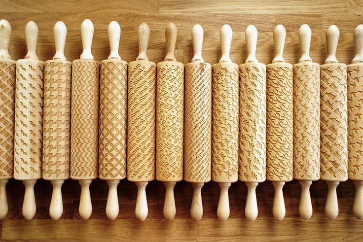 Polish designer Zuzia Kozerska creates laser-engraved wooden rolling pins that print designs onto cookie dough.