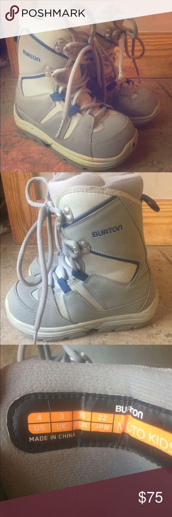 Burton Moto Kids snowboarding boot size 4 Pre owned/ lightly used kids Burton Snowboarding boots size 4 grey and navy. Sweet! Burton Shoes Boots