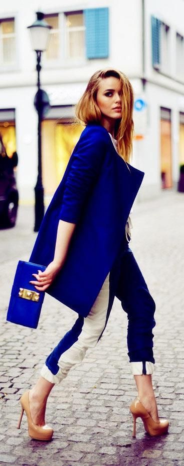 love this cobalt combo!! the Saint Laurent platforms complete the feminine edge