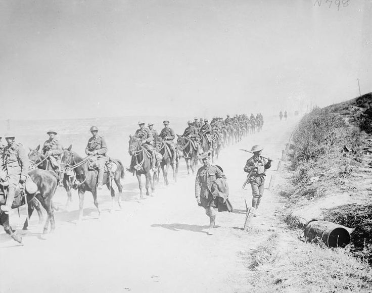 Mounted troops of the 13th Light Horse Regiment, Australian Army, near Peronne/3rd September 1918.