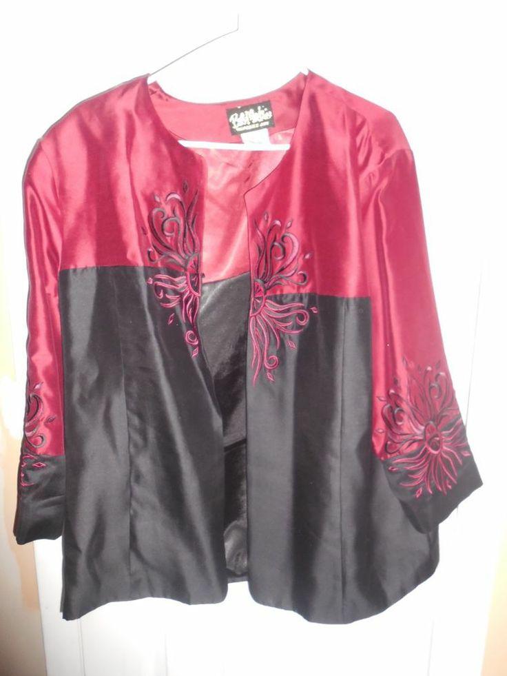 Bob Mackie Wearable Art - Ladies Jacket  Beautiful dark red with black design XL