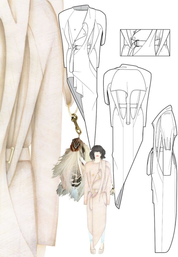 Fashion Sketchbook - fashion drawings for asymmetric coat design; fashion portfolio // Helen McReynolds