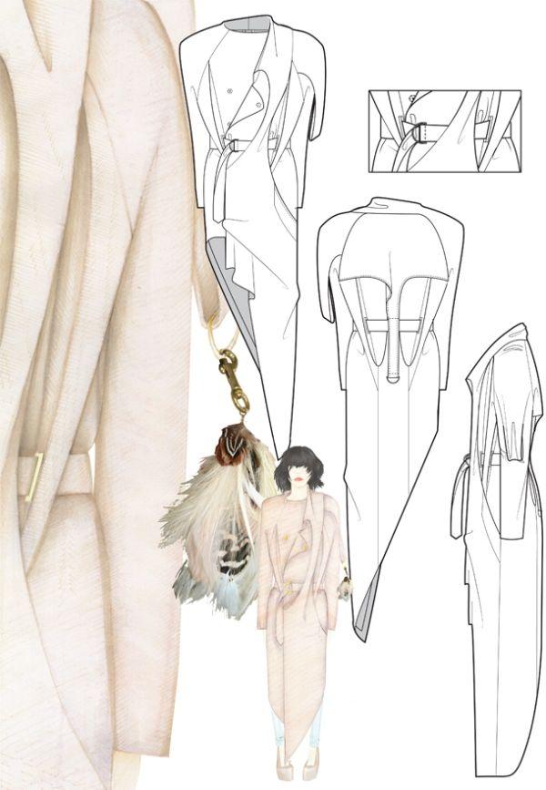 Fashion Sketchbook - fashion drawings for asymmetric coat design; fashion…
