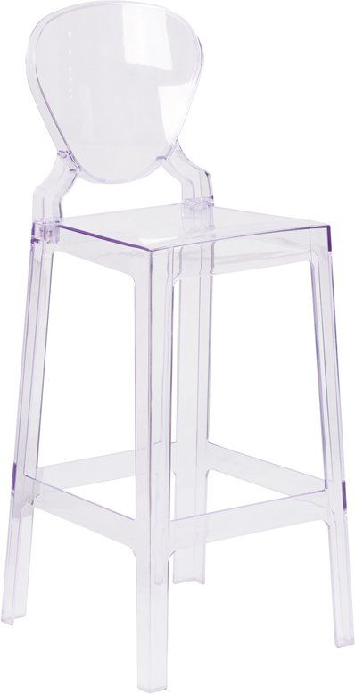 Ghost Chair Bar Stool Folding Cap Covers Barstool With Tear Back In Transparent Crystal Chairs Pinterest And Stools