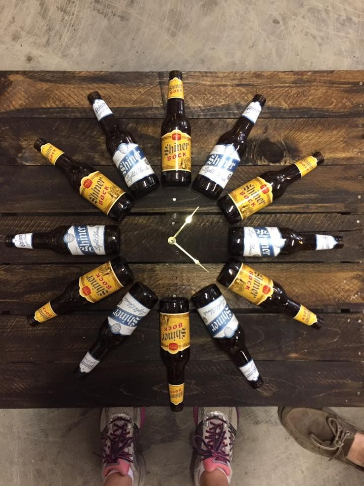DIY Beer Bottle Clock (found on Facebook)  Instructions: Drink twelve beers. Make/acquire pallet. Stain wood. Purchase clock mechanism. Drill hole in middle for mechanism. Attach beer bottles. (The person who made this used a caulk gun with a product called liquid nails behind the labels of each bottle to attach them.) Voila!  Clock kit: http://www.hobbylobby.com/Crafts-Hobbies/Wood-Crafting/Clock-Making/1/3/3/1/1/3/3/1/1/3/3/3/3/4%22-Mini-Quartz-Clock-Movement/p/26204