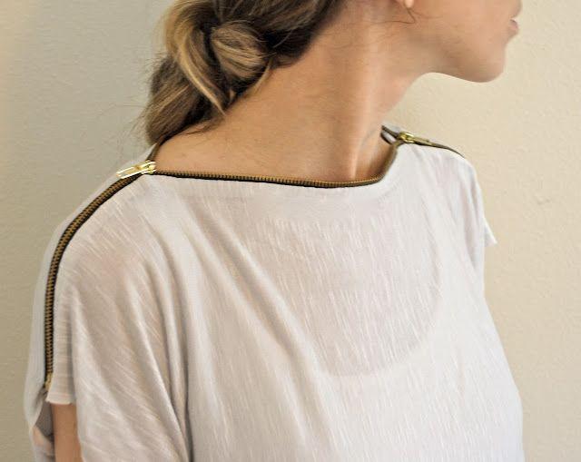Tuto de couture pour faire soi-même un tee-shirt design avec une fermeture-éclair en guise de col.