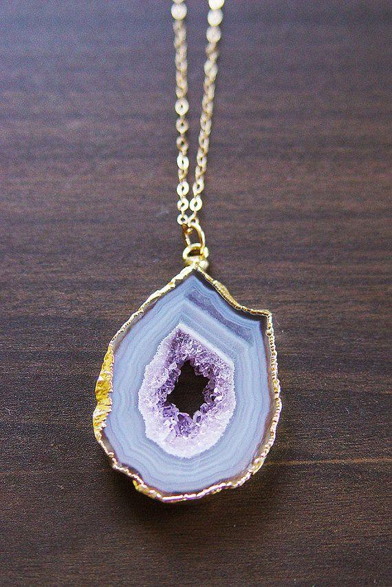 Lavender Geode Druzy Gold Necklace OOAK by friedasophie on Etsy