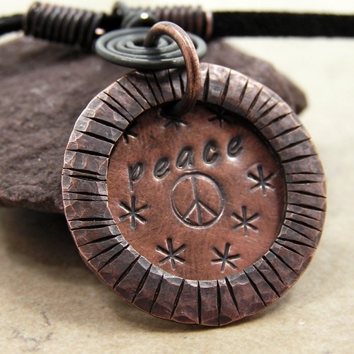 Peace ~ a Hand Stamped Copper Necklace