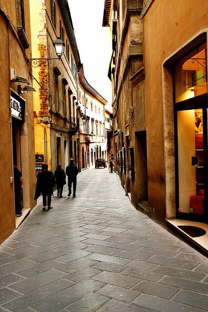 An attractive street in Todi, Italy.
