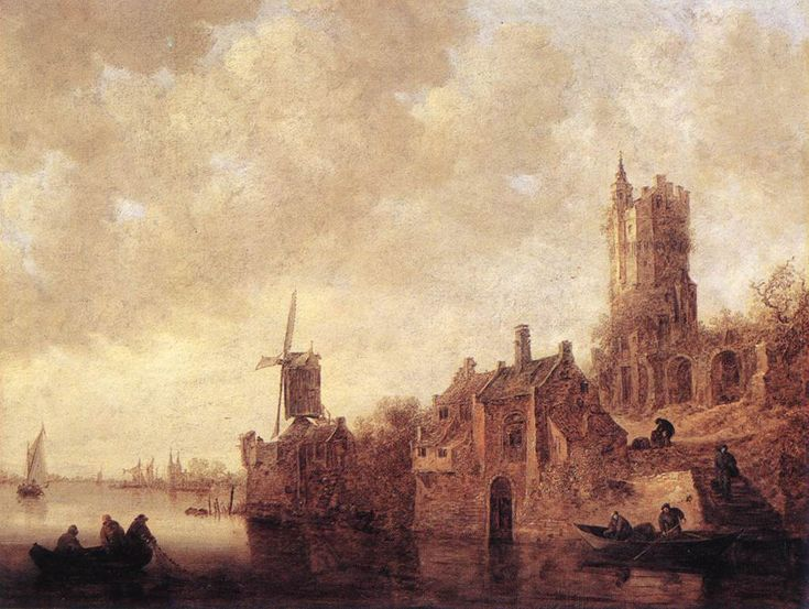 Jan Van Goyen (Dutch, 1596-1656) River Landscape with a Windmill