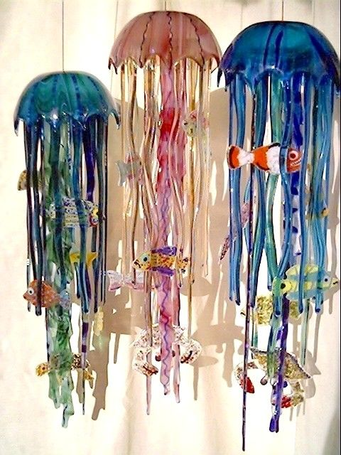"glass jellyfish  windchimes  6"" x  20""  $275"