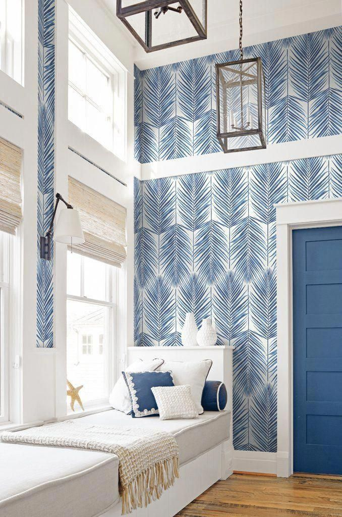 Paradise Wallpaper In Coastal Blue From The Beach House Collection By In 2020 Beach House Interior Beach House Decor Beach House Design