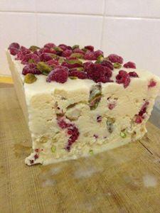 Raspberry, macadamia, pistachio, white chocolate ice cream. {Thermomix}