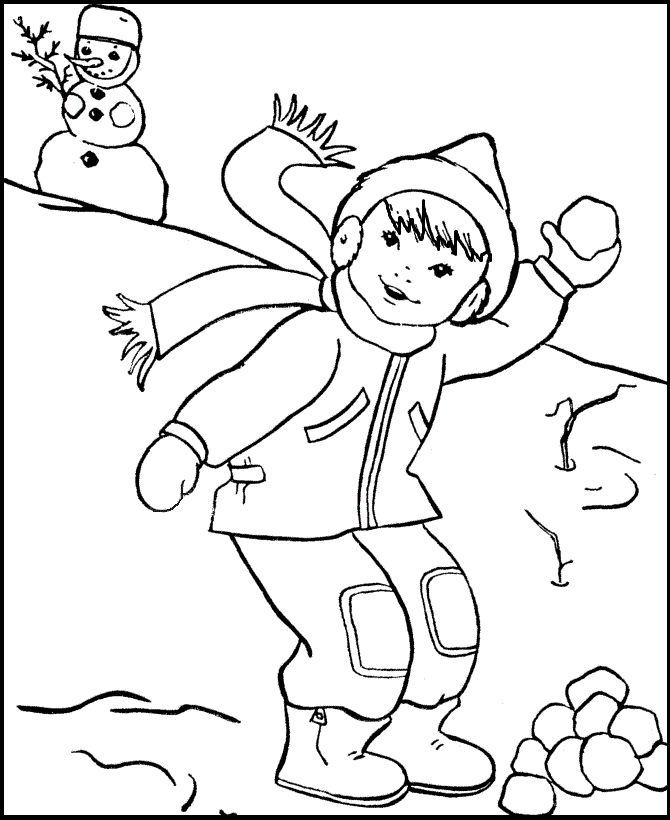 Mr Snowman On Christmas Touching A Snowflake Coloring Page: Happy Snowball Fight On Winter Coloring Picture For Kids