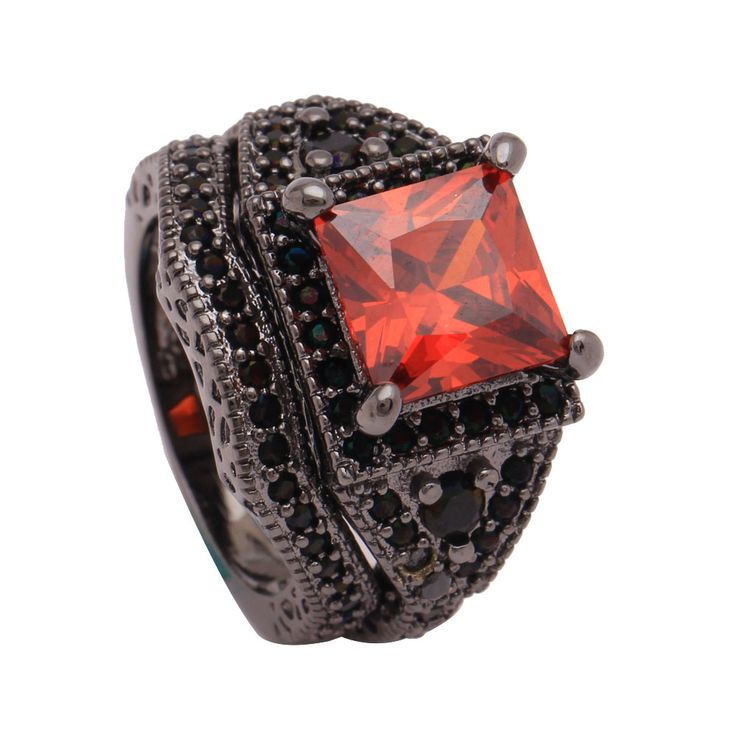 black gold-color ring with synthetic red cz cz jewelry promise rings sets black color New engagement rings for women Wedding