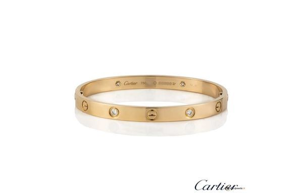 """Rose gold half diamond love bangle by Cartier, Armreif, Armband, Trend """"Roségold"""", business jewelry, work fashion, luxury accessories, classic"""