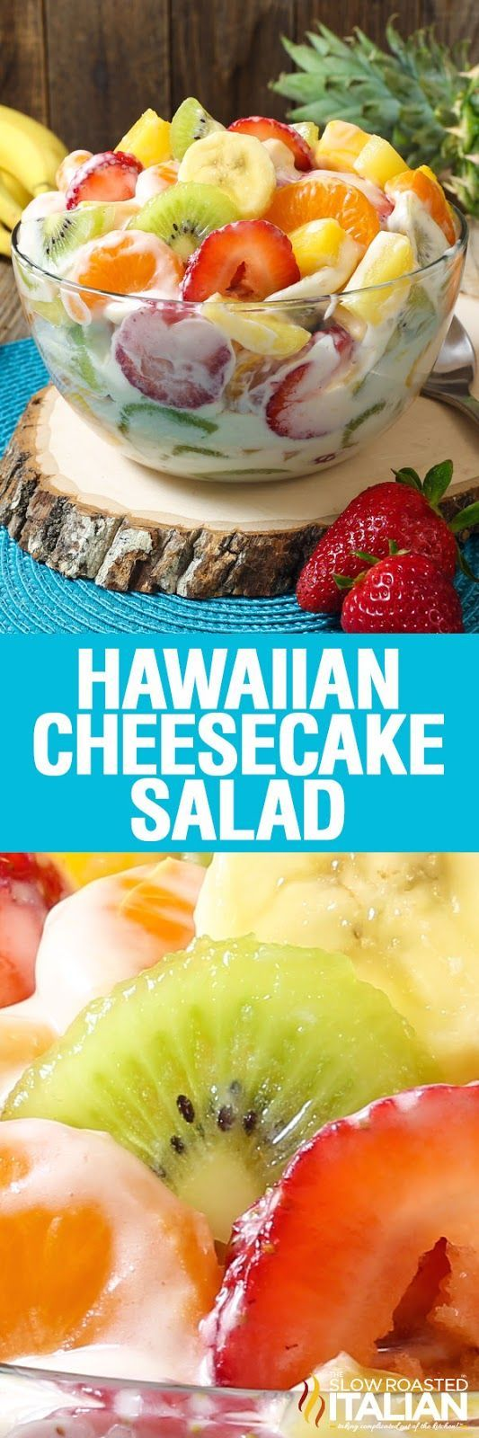 Hawaiian Cheesecake Salad comes together so simply with fresh tropical fruit and a rich and creamy cheesecake filling to create the most glorious fruit salad ever! Every bite is absolutely bursting with island flavor and you are going to go nuts over this recipe!