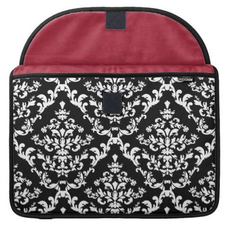 Black and White Damask Pattern Sleeve For MacBook Pro #laptop #computer #ipad #mac #sleeve #bags #modern #colorful