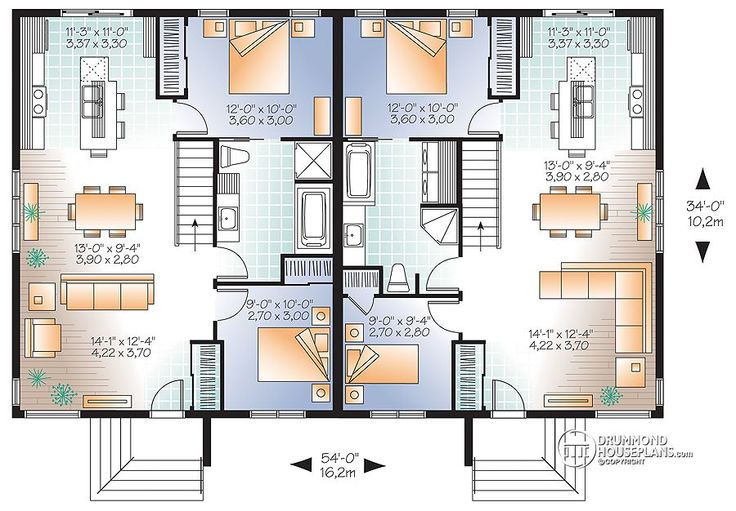 76 best multi unit plans images on pinterest for Unique duplex plans