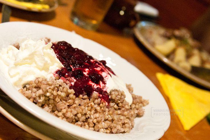 Buckwheat porridge with cream, whipped cream and fruit. (Wallachian Open Air Museum, Rožnov pod Radhoštěm)