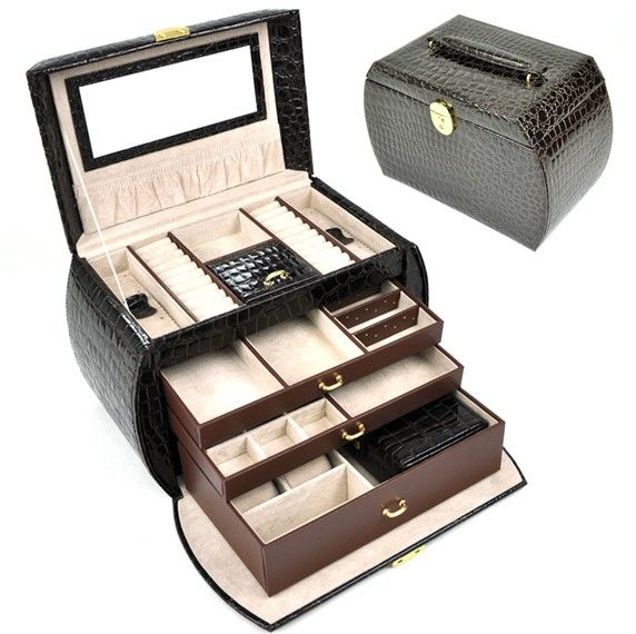 Jewelry Box 4 Layers  Luxury Leather gift box  fashion princess  earring display caskets  packaging leatherwith mirror