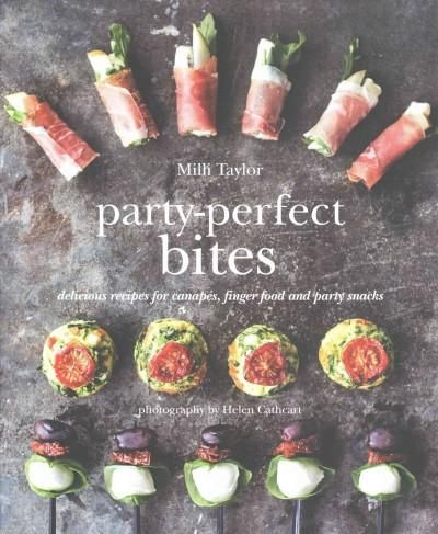 Presents a collection of recipes for small bites suitable for serving at parties, featuring such options as Persian sausage rolls with pistachios, rose and raspberry profiteroles, and glazed baked che