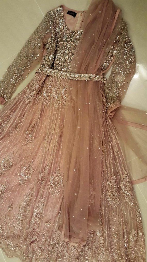 Pakistani Wedding Gown Long Maxi Dress Blush Pink Anarkali