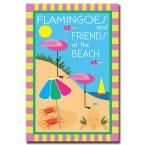 24 in. x 32 in. Flamingoes and Friends at the Beach Canvas Art