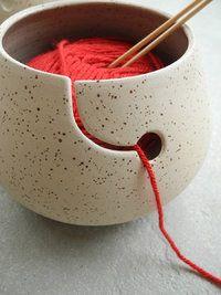 Yarnbowl - Rock - Cream with spots - Glazed inside. - Claybody: Creme Spikkel - Glazed: Glazed only inside   $53.89 *