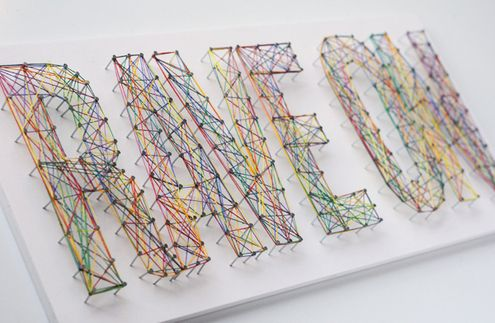 Cool new take on string art. Make signs for the teen department or let teens make them for their bedrooms.