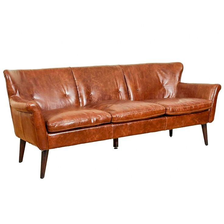 Buckingham 3-sits soffa skinn Cuba brown