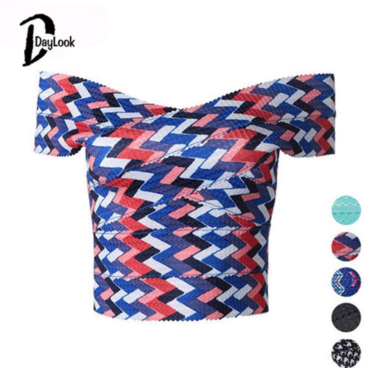 DayLook Fashion Bandage Crop Top Geometry Wavy Stripes Camisoles For Women Strapless Sexy Top Blusas Feminino Back Zipper