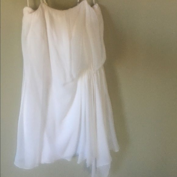 Alice + Olivia White Silk Dress Alice + Olivia spaghetti strap silk dress with zip back and loose draping, used Alice + Olivia Dresses