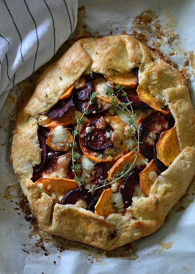 Sweet Potato and Beet Galette with Gorgonzola Cheese and Thyme