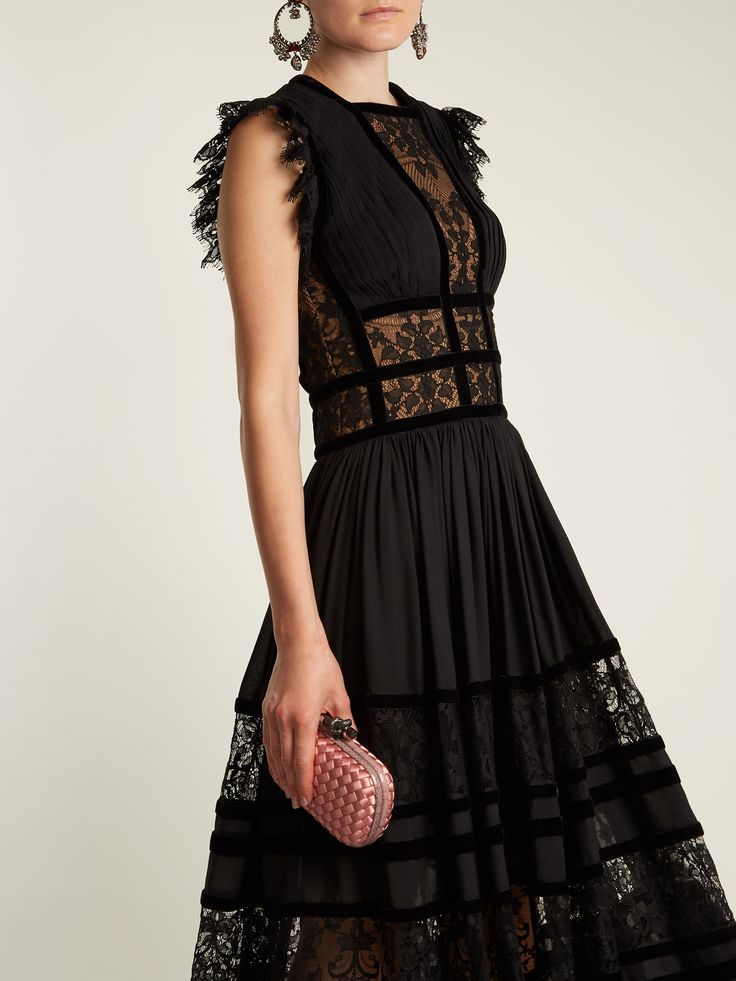 Lace-insert pleated-georgette gown   Elie Saab   MATCHESFASHION.COM