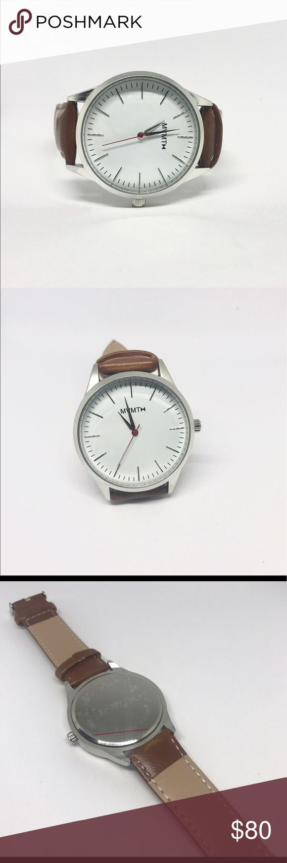 Men's MVMT leather strap white/silver watch Hello! For sale is a MVMT watch! It is new without the box. Great watch that can be worn formally or casually. Great for summer too!    Tags: mvmt watch, Rolex, citizen, Timex weekender, military sub, submariner, Daniel Wellington, Kate spade, Michael kors, fossil Accessories Watches
