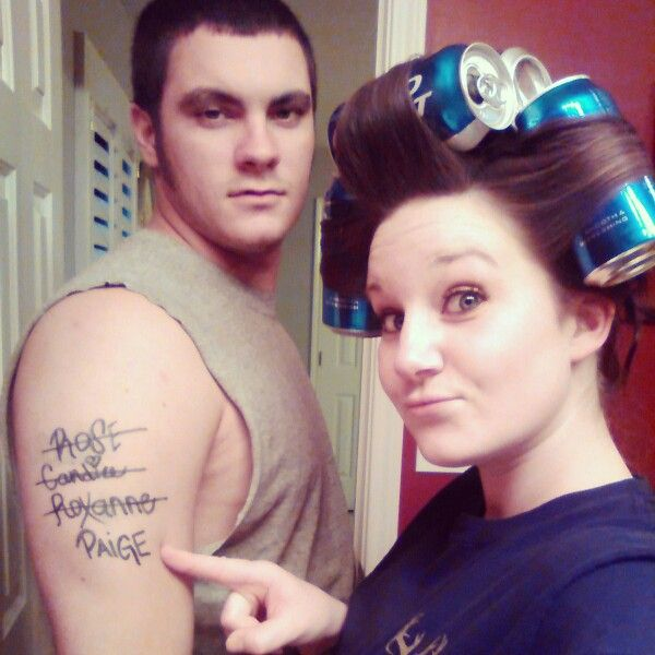 Redneck white trash couples. Redneck tattoo Redneck hair.  My husband and I for redneck Christmas.
