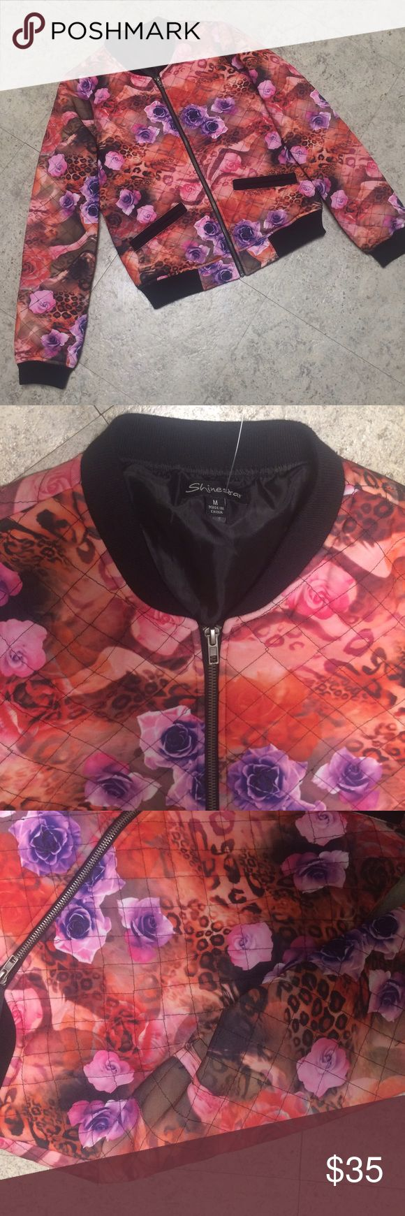 Shinestar printed bomber jacket Like new condition! ASOS Jackets & Coats
