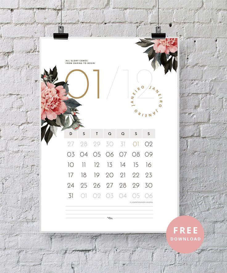 Feliz 2016!!! Inicio as atividades aqui no blog com um mimo para vocês. Um calendário para baixar de graça e decorar seu espaço de trabalho, estudo e etc. É só clicar na imagem acima e imprimir. Desejo a todos um ano com muita criatividade! Enjoy ( :