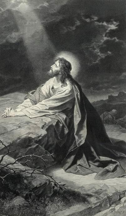 Jesus praying in the garden of gethsemane so as he prayed we should pray blanco y negro Jesus praying in the garden of gethsemane